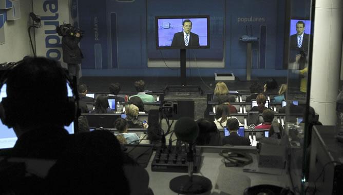 Una rueda de prensa en Moncloa